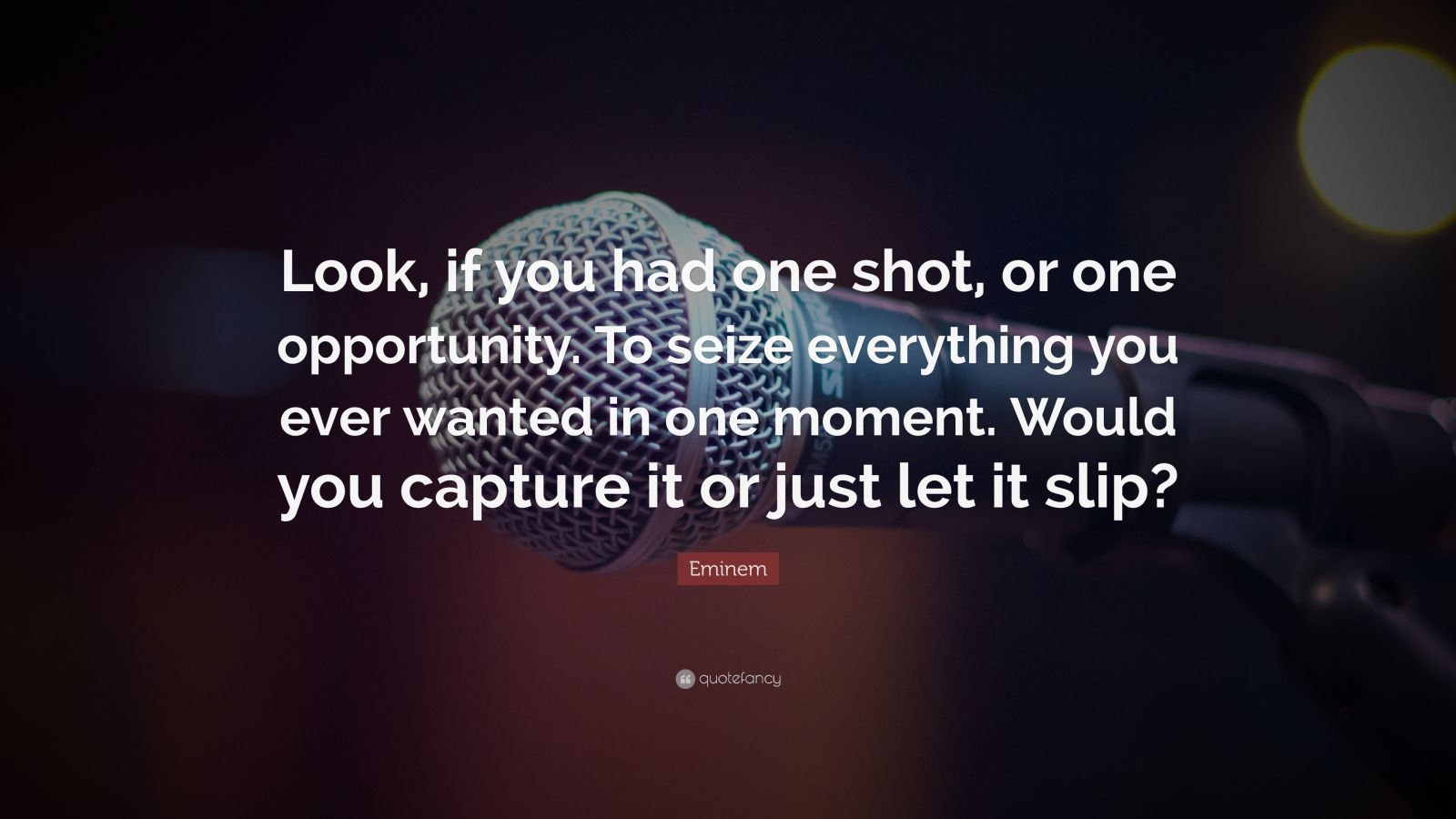 """""""look, If You Had One Shot, Or One Opportunity - Eminem Quotes If You Had One Shot - HD Wallpaper"""