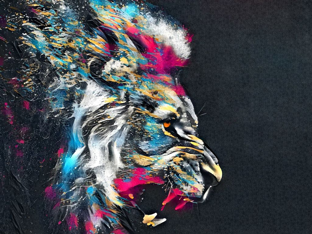Lion Roar Animal Abstract Colorful Wallpaper - Colorful Lion Abstract Art - HD Wallpaper
