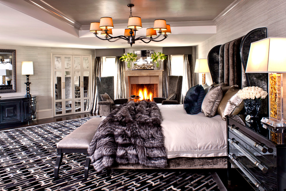 Superb Faux Fur Blanket In Bedroom Contemporary With - Kardashian Room - HD Wallpaper
