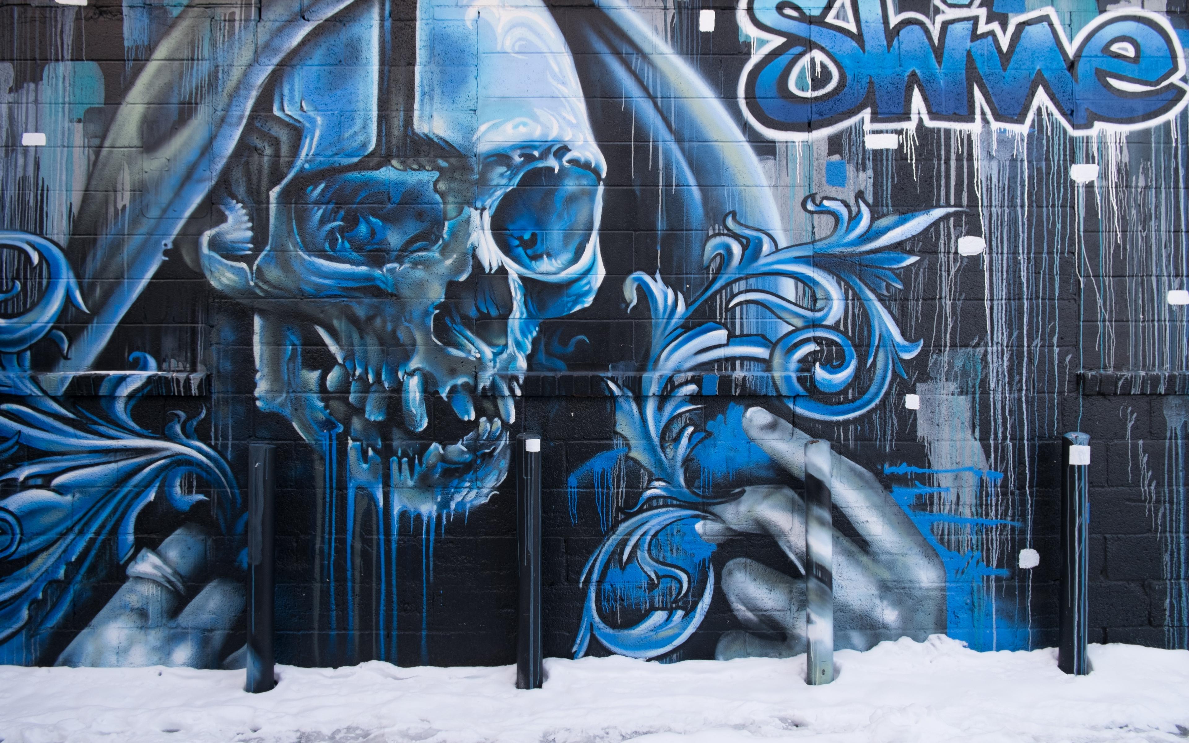 Wallpaper Skull, Graffiti, Street Art, Wall - Street Art Graffiti Wallpapers 4k - HD Wallpaper
