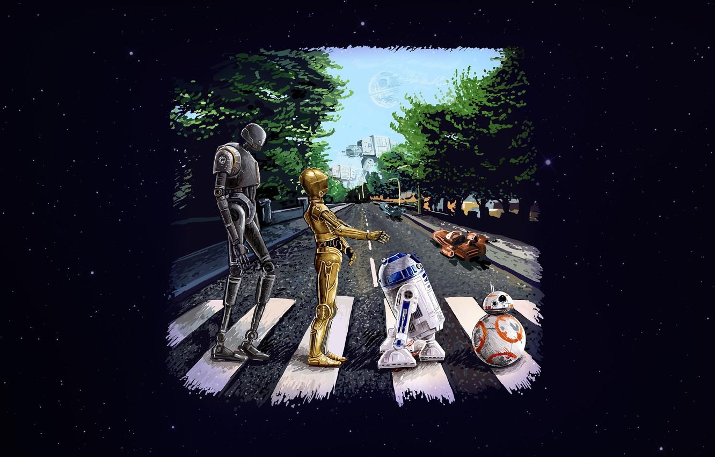 Photo Wallpaper Star Wars Art Star Wars R2d2 Beatles Star Wars Beatles 1332x850 Wallpaper Teahub Io