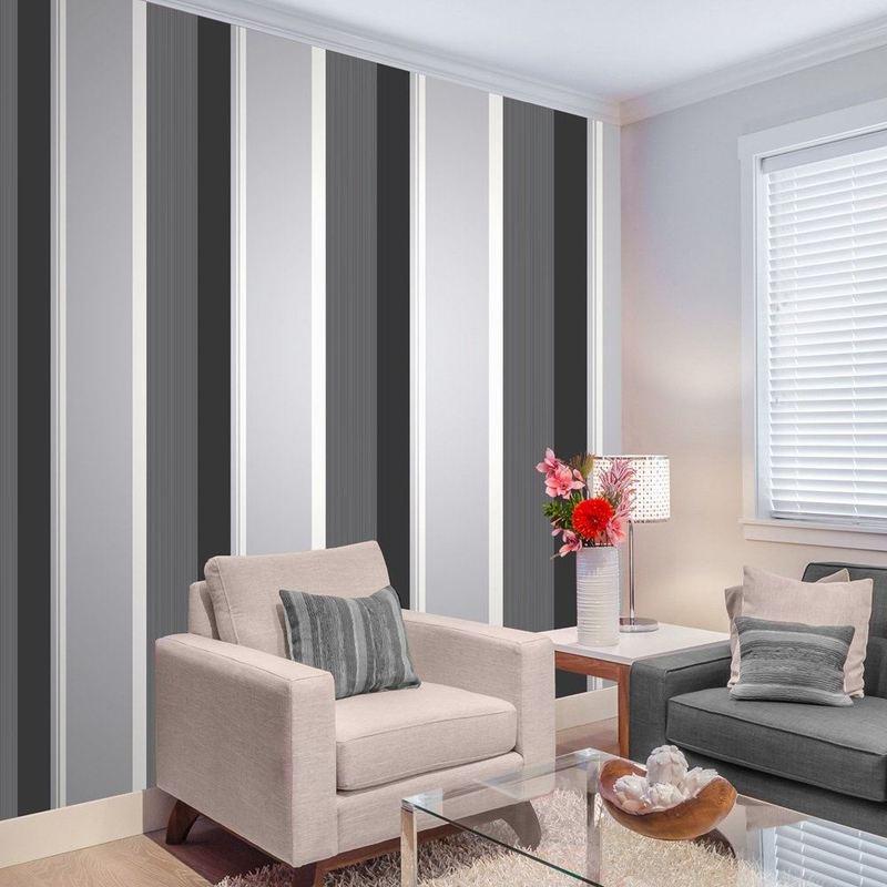 Grey And Black Striped Wallpaper Uk - HD Wallpaper