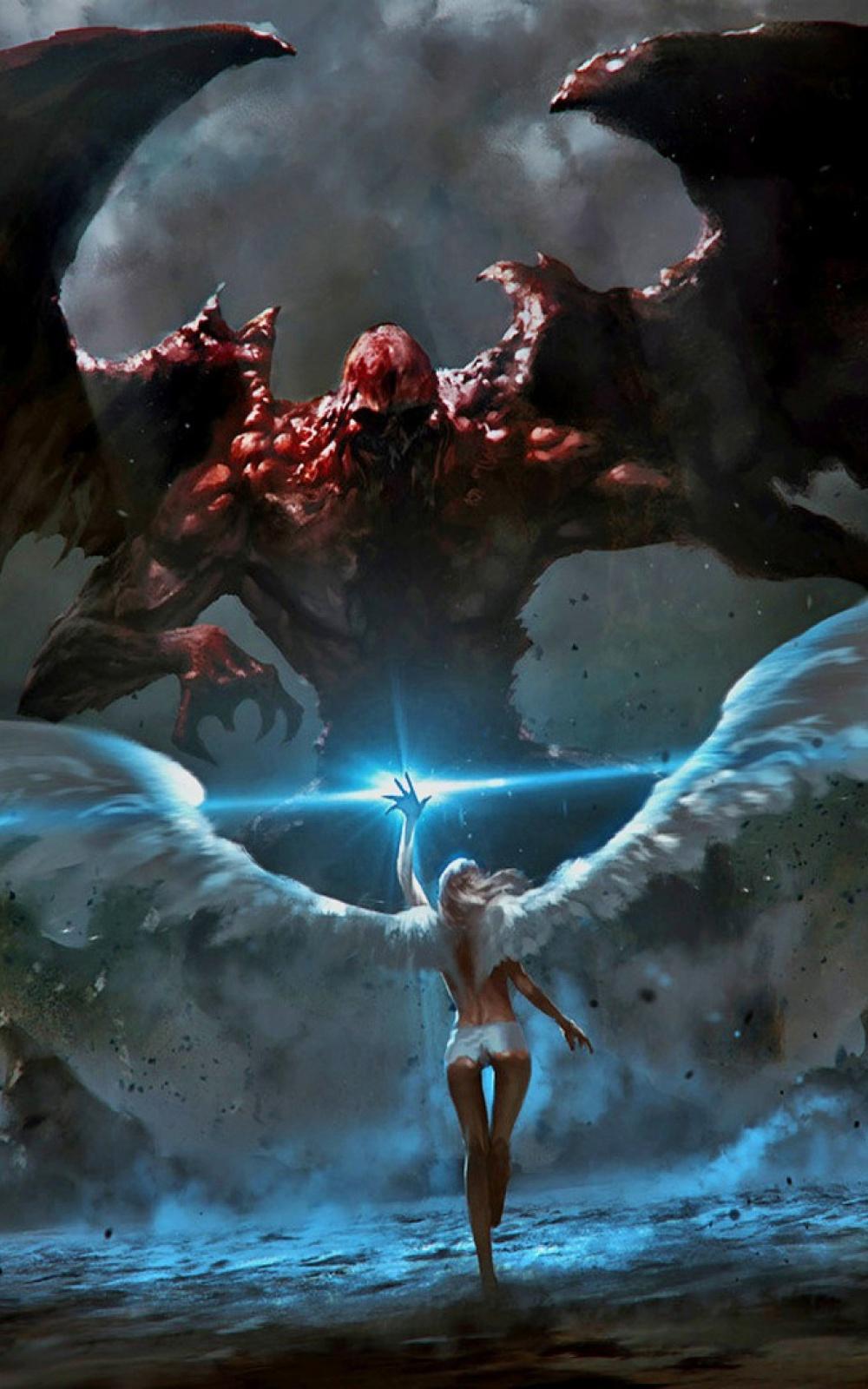 Angel Demon Battle 1000x1600 Wallpaper Teahub Io