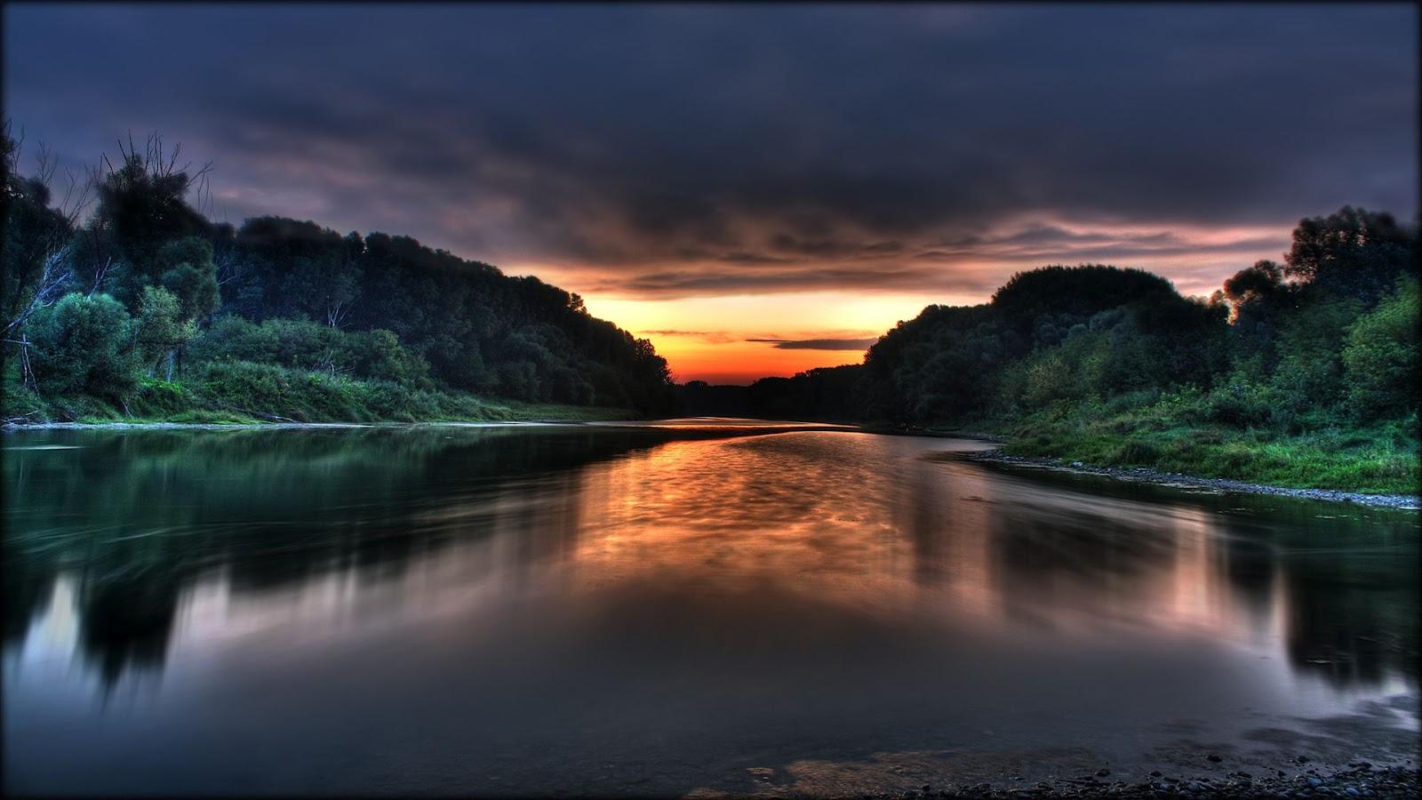 Widescreen Full Hd Size Nature Lake Water Mountains - Sunrise Hd Wallpaper 1080p - HD Wallpaper
