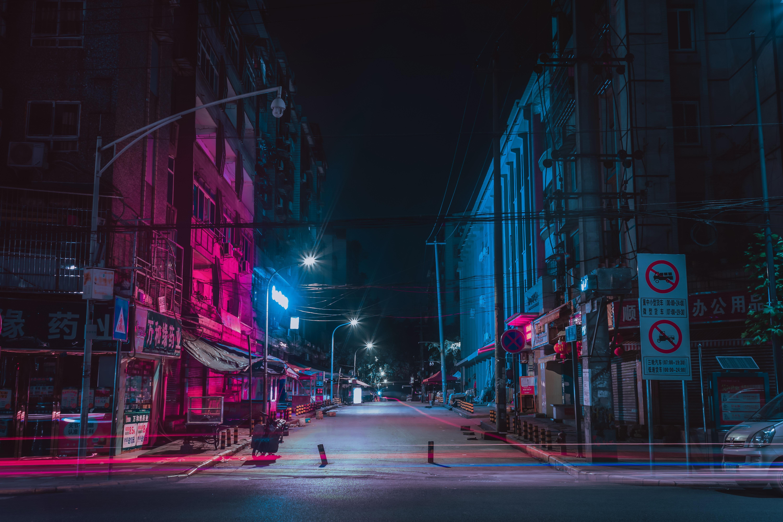 Calle, Ciudad De Noche, Neón, Edificios - Background City Street Night - HD Wallpaper