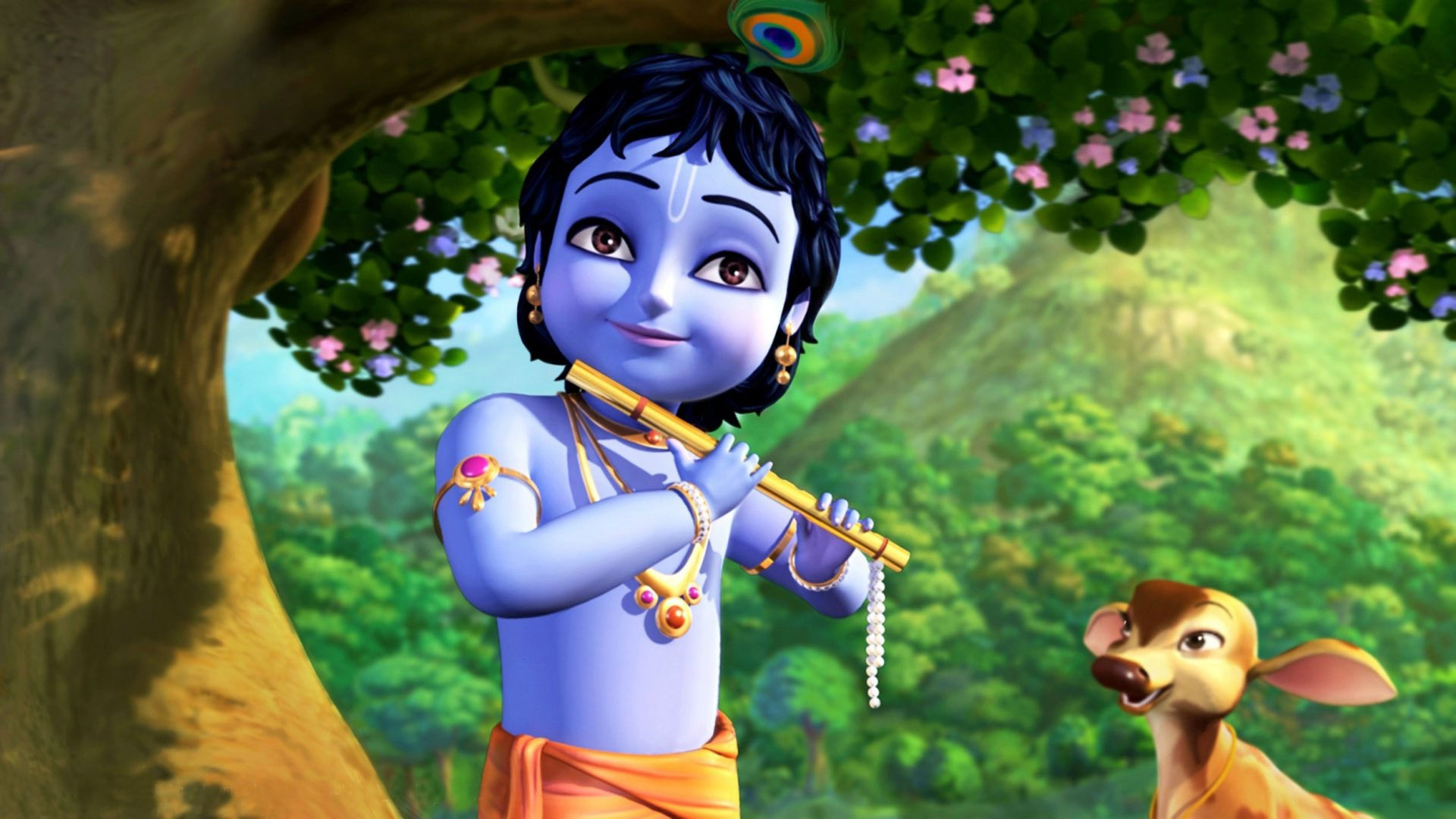 Little Krishna - Cute Happy Krishna Janmashtami - HD Wallpaper