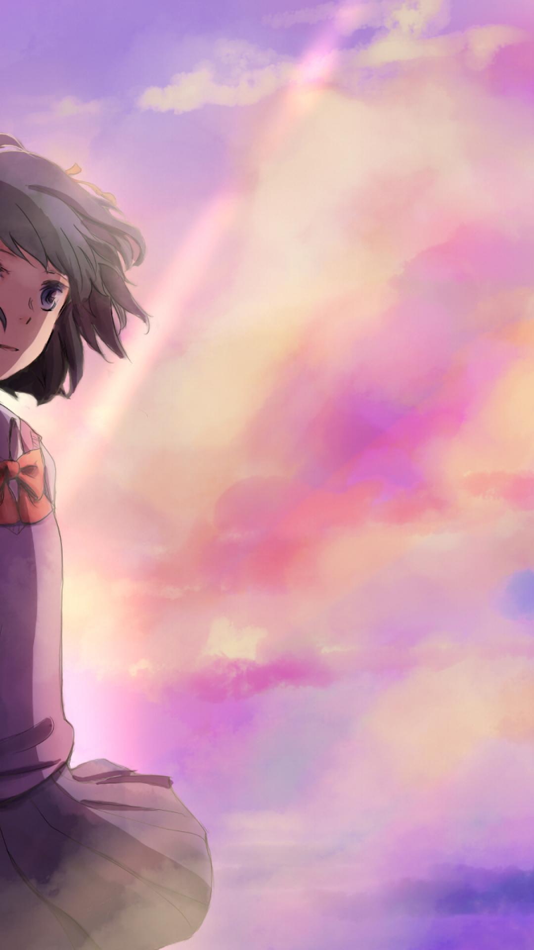 Kimi No Na Wa, Mitsuha Miyamizu, Taki Tachibana, Clouds, - Mitsuha Your Name Wallpaper Iphone - HD Wallpaper