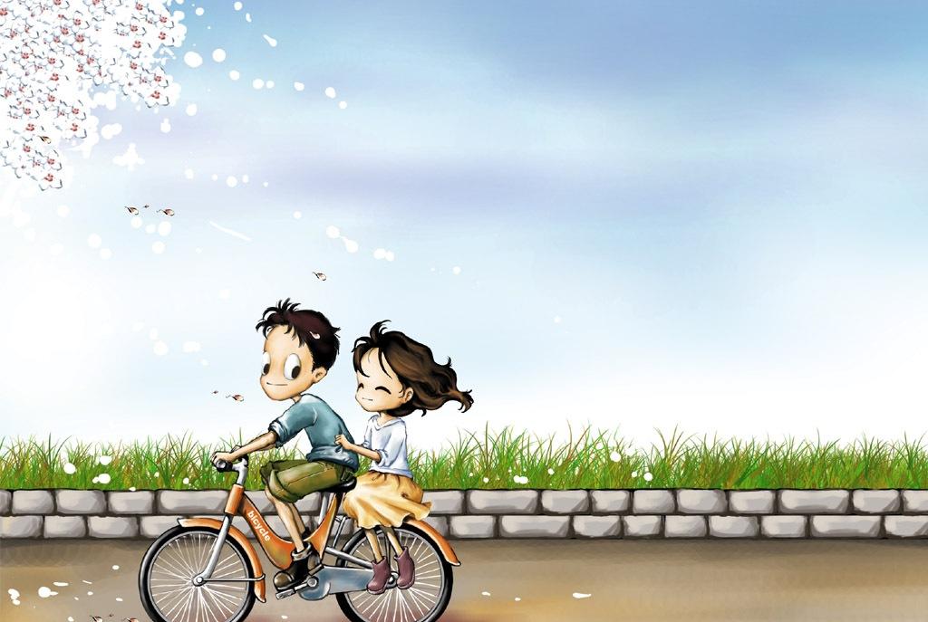 Gambar Kartun Romantis Bersepeda - Cute Love Wallpapers For Mobile Micromax - HD Wallpaper
