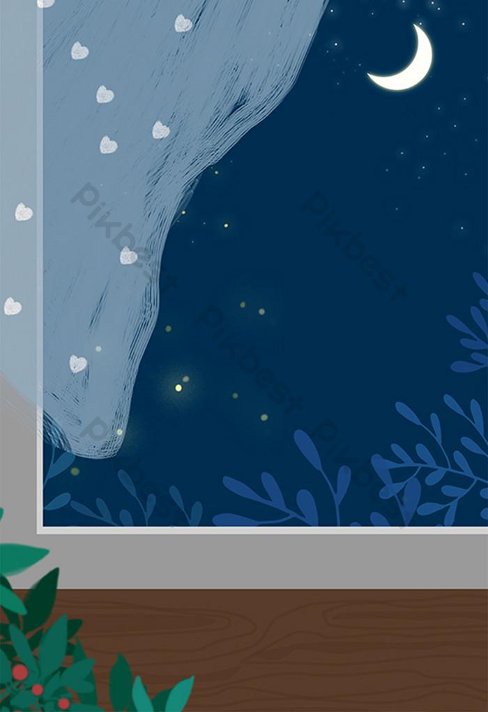 Cartoon Hand-painted Window Night Scenery - Gambar Pemandangan Malam Hari Kartun - HD Wallpaper