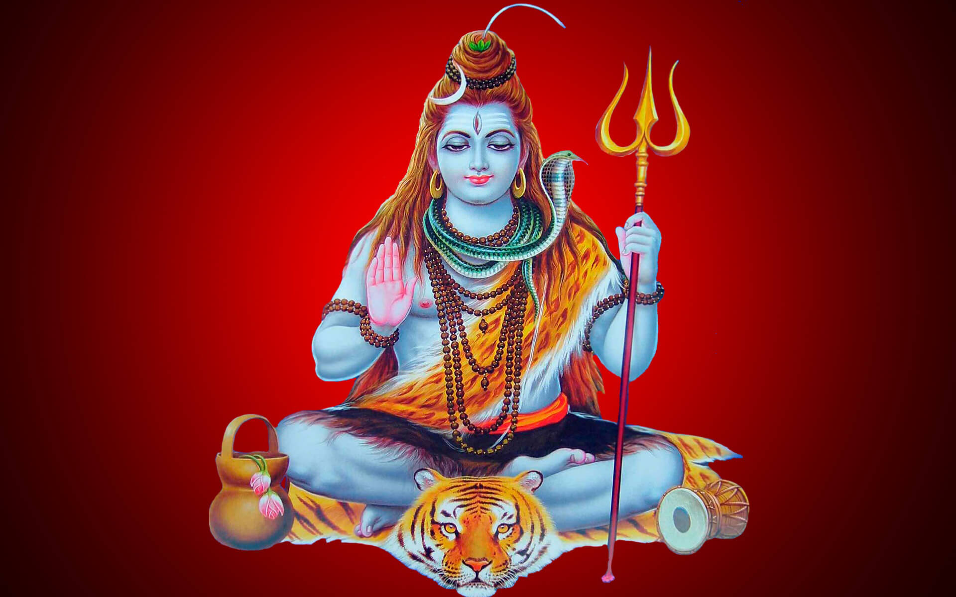 Lord Shiva Red Background - HD Wallpaper