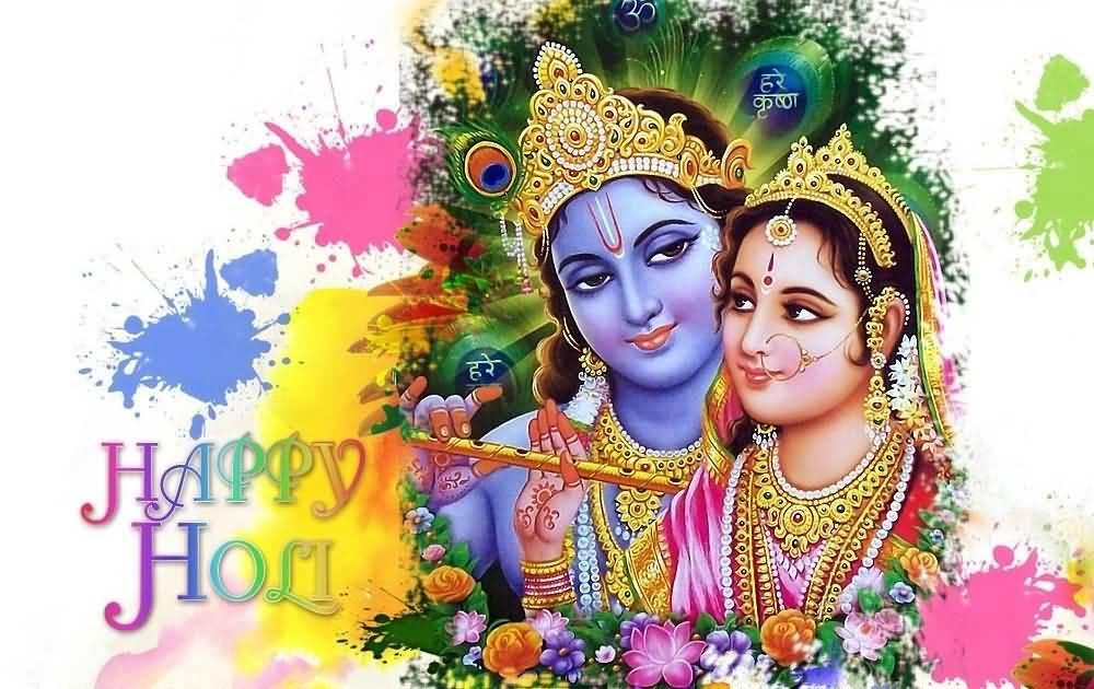 Happy Holi Lord Krishna And Radhe Wallpaper - Happy Holi 2018 - HD Wallpaper