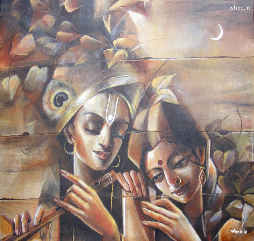 Radhe Krishna Canvas Painting Hd Wallpaper - Radha Krishna Painting Hd - HD Wallpaper