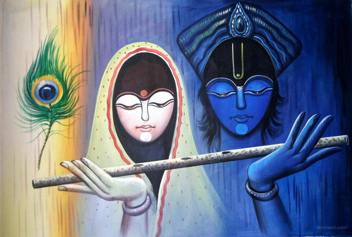Radhe Krishna Pic Hwb31390 - Abstract Radha Krishna Paintings - HD Wallpaper