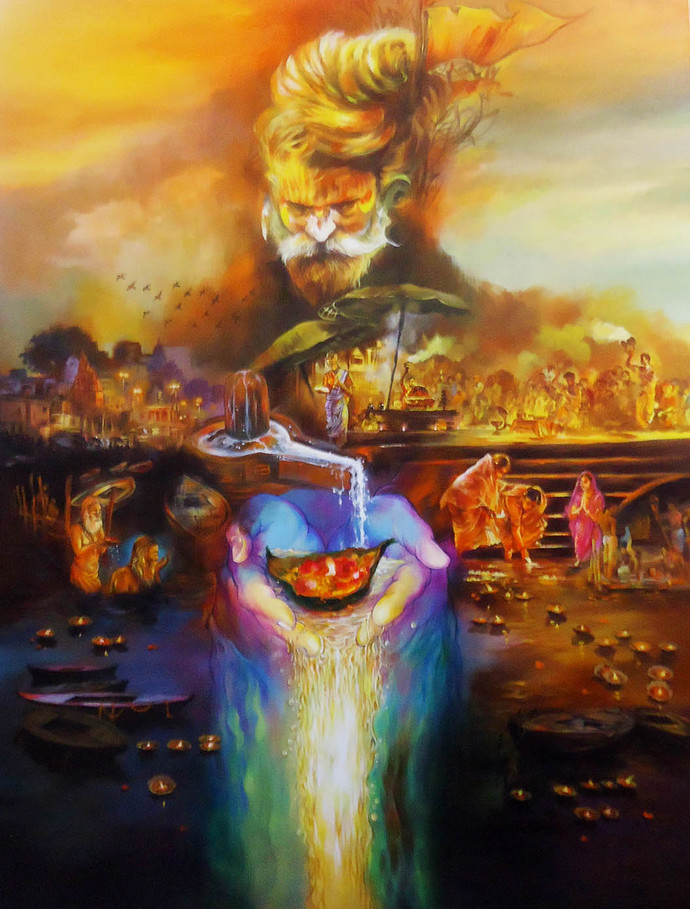 Har Har Mahadev By Shambhu Nath Goswami, Traditional - Canvas Mahadev Painting - HD Wallpaper