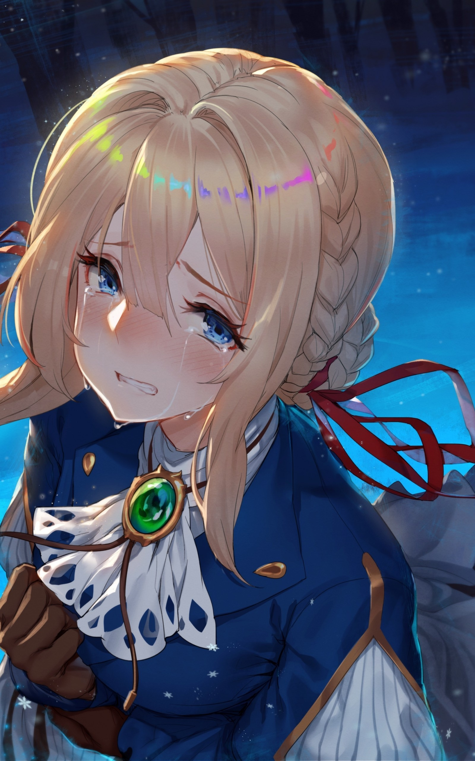 Violet Evergarden, Crying, Blonde, Sad Face, Papers - Sad Anime