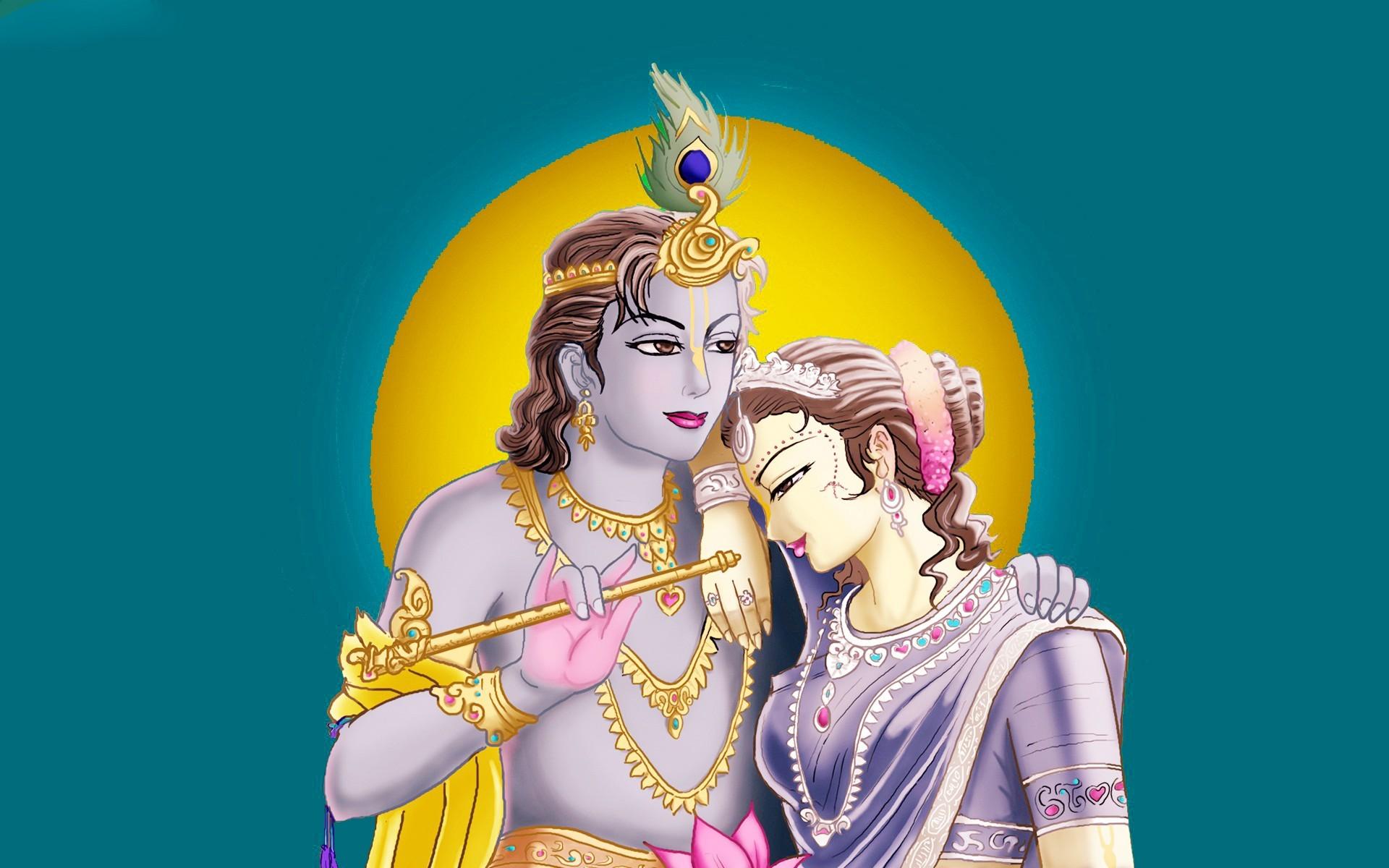 Hindu God Radha Krishna Hd   Data-src - Radha Krishna Photo Cartoon - HD Wallpaper