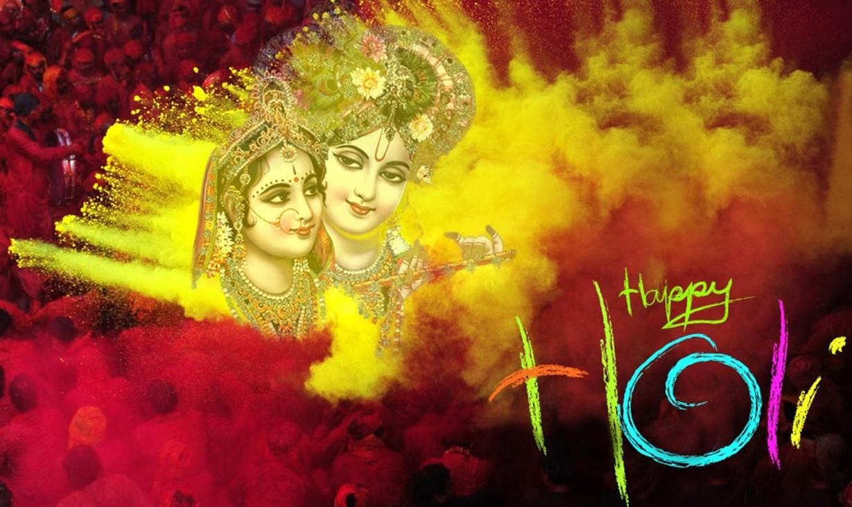 Radha Krishna Images 2018 Holi - Radha Krishna Happy Holi - HD Wallpaper