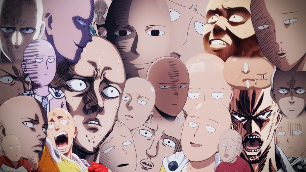 One Punch Man All Faces 1024x576 Wallpaper Teahub Io