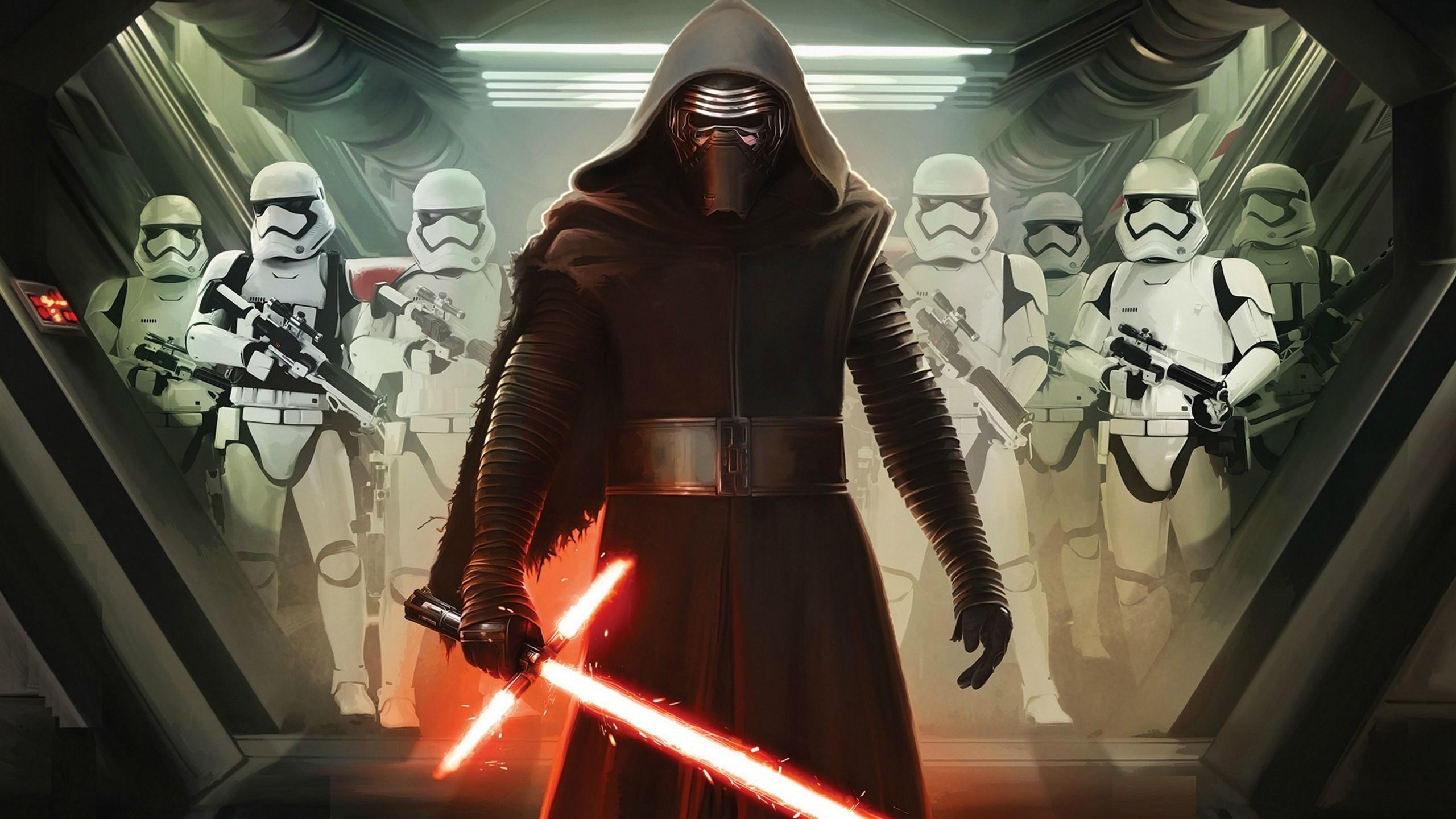 Star Wars Vii Darth Vader And Storm Troopers For Hdtv Star Wars Darth Vader And Stormtroopers 2560x1440 Wallpaper Teahub Io