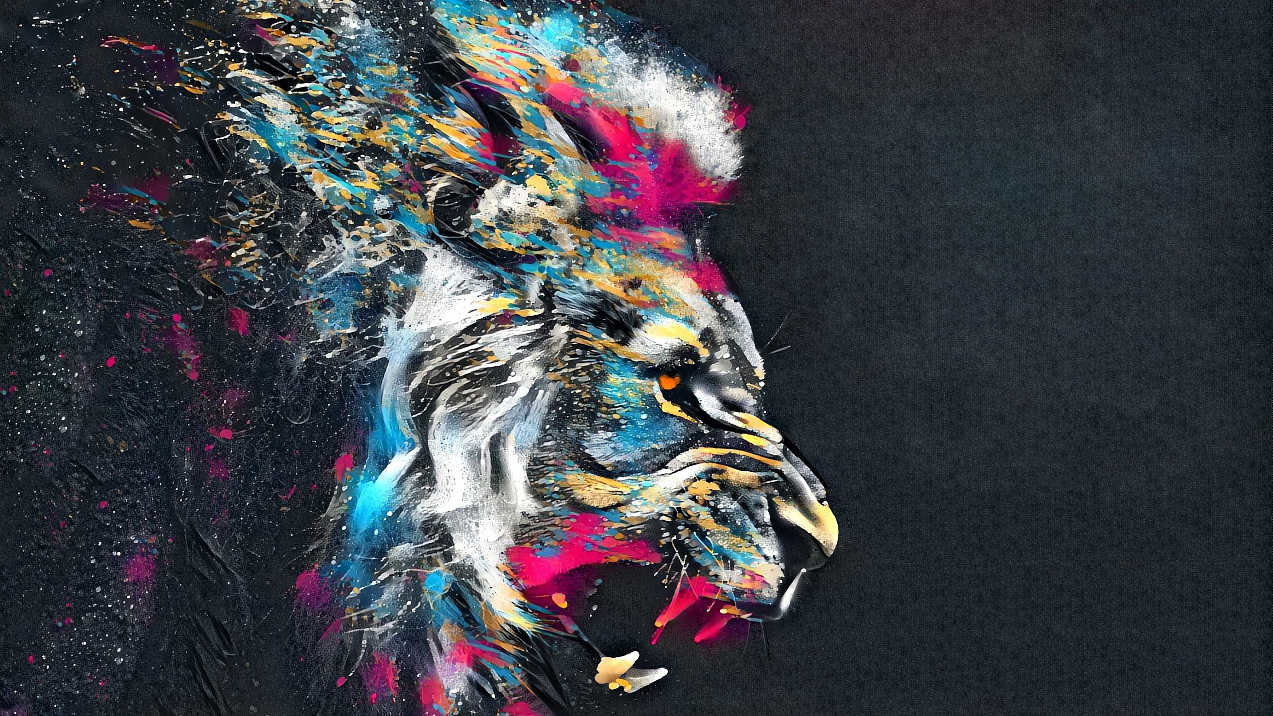 Colorful Lion Abstract Art - HD Wallpaper