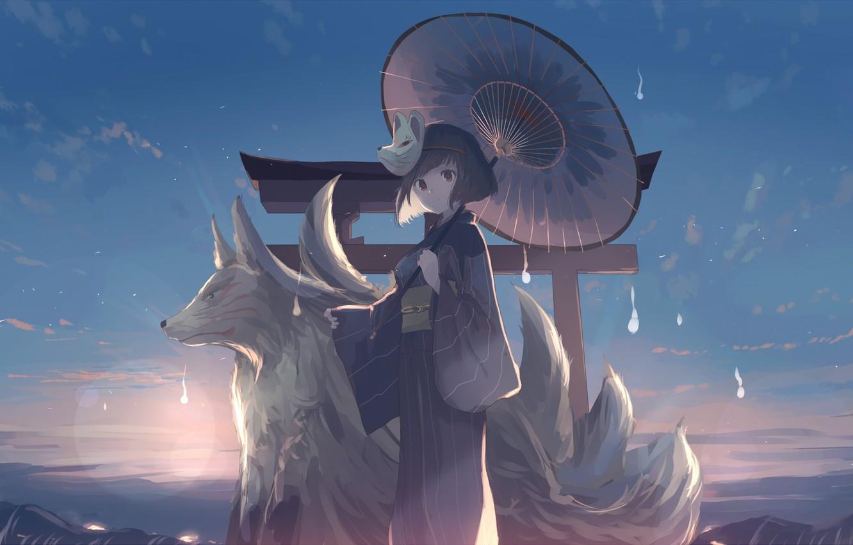 Photo Wallpaper The Sky, Girl, Clouds, Sunset, Mountains, - Wolf Anime Girls Art - HD Wallpaper