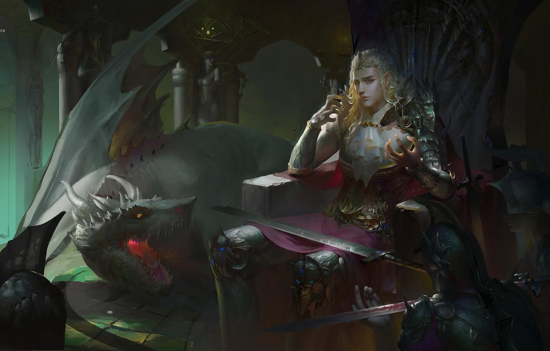 Photo Wallpaper Sword, Armor, Ritual, Horns, Prince, - King On Throne Art - HD Wallpaper