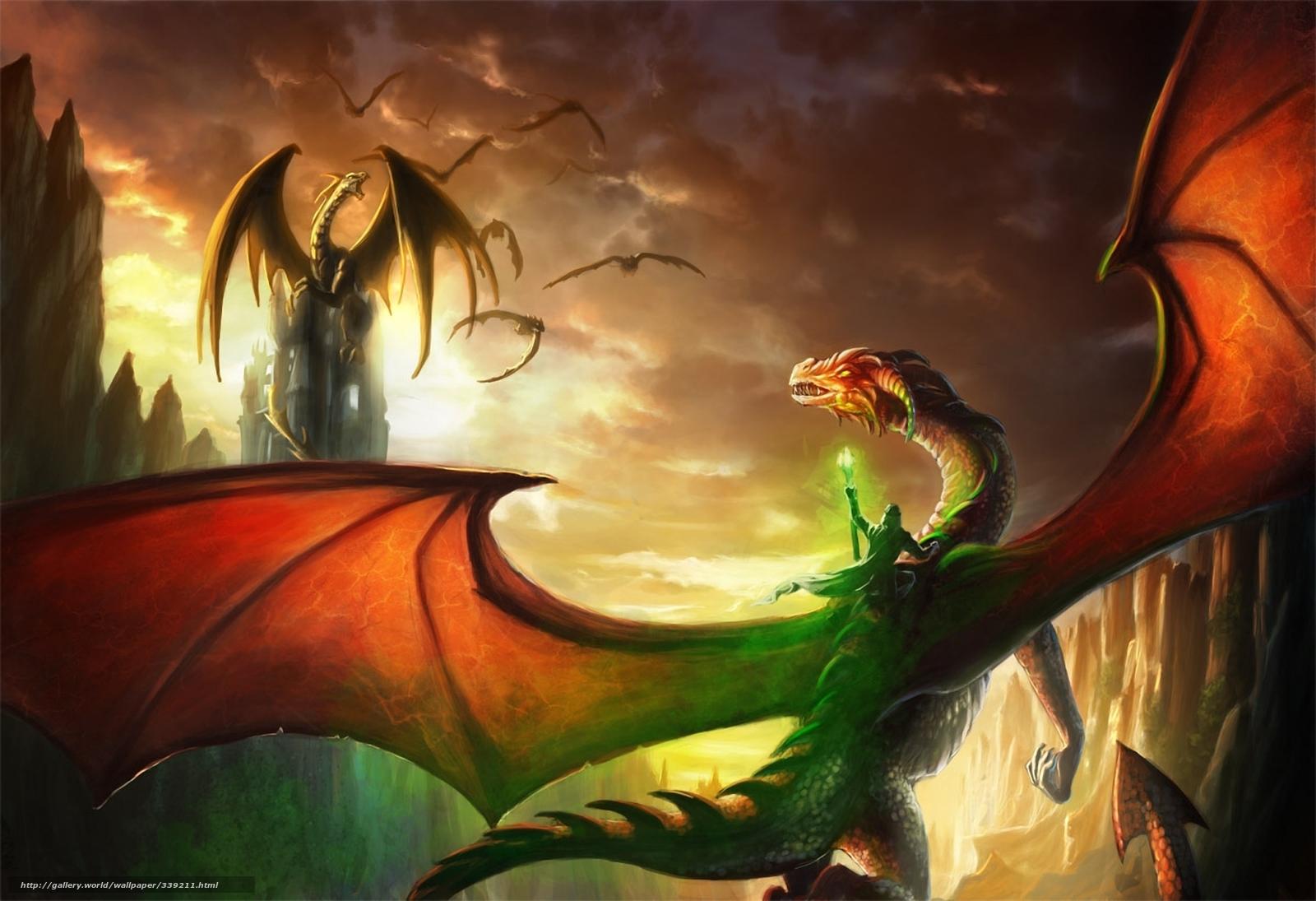 Download Wallpaper Art, Dragons, Rider, Mage Free Desktop - Dragon Fight - HD Wallpaper