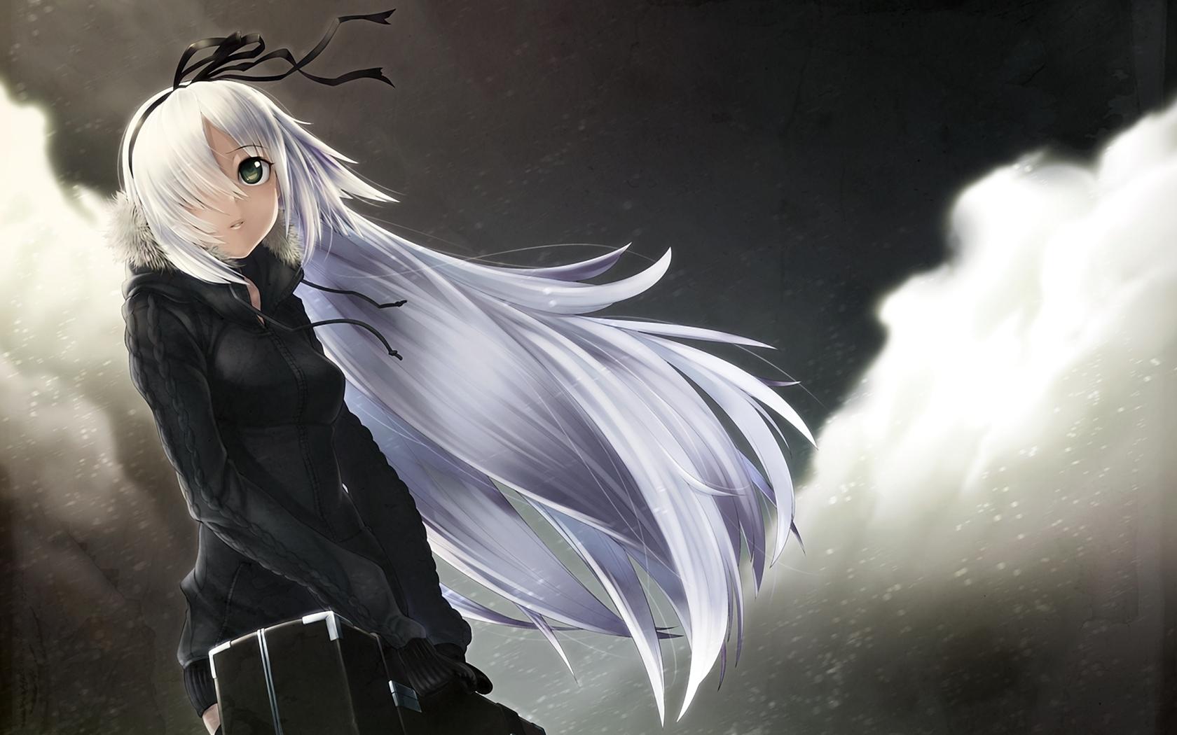 White Hair Anime Girl ...