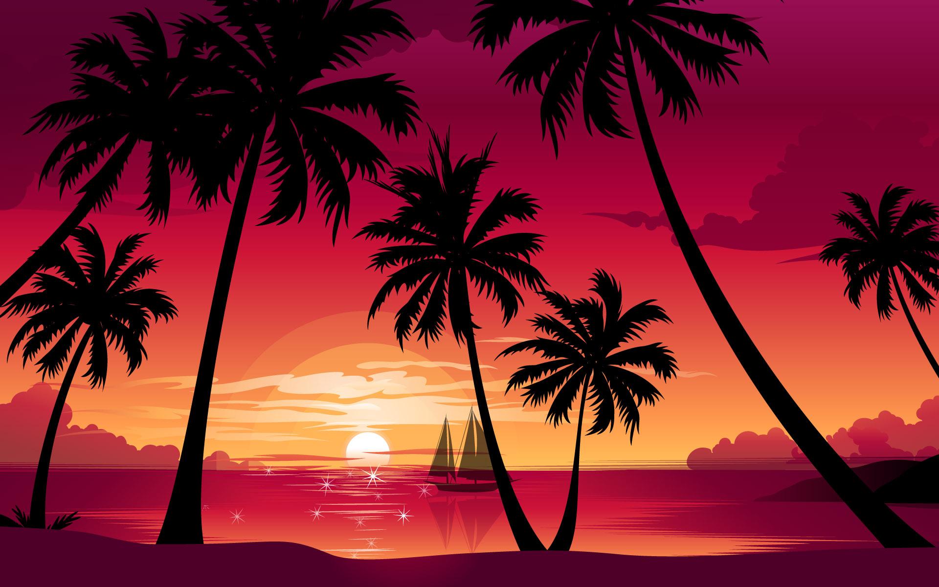 Sunset Beach Background Drawing - HD Wallpaper