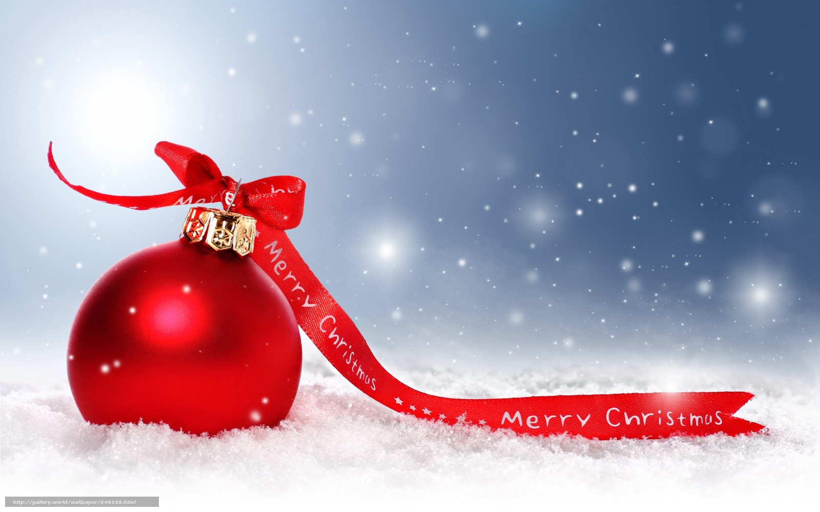 Download Wallpaper Merry, Christmas, Happy, Holidays - Christmas Ornament In Snow - HD Wallpaper