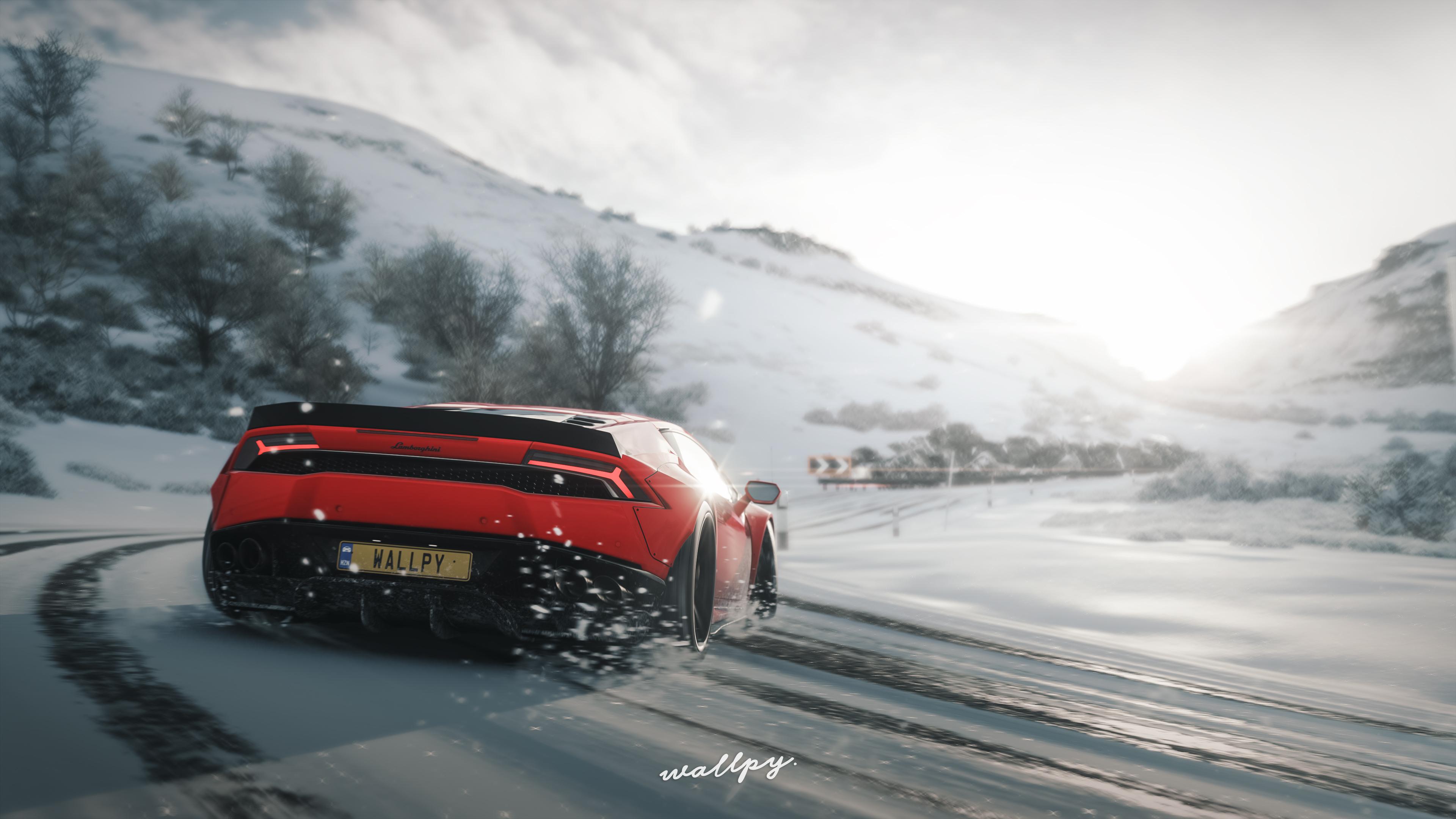 Lamborghini Huracan Drift In Snow Forza Horizon 4 - Forza Horizon 4 Winter - HD Wallpaper