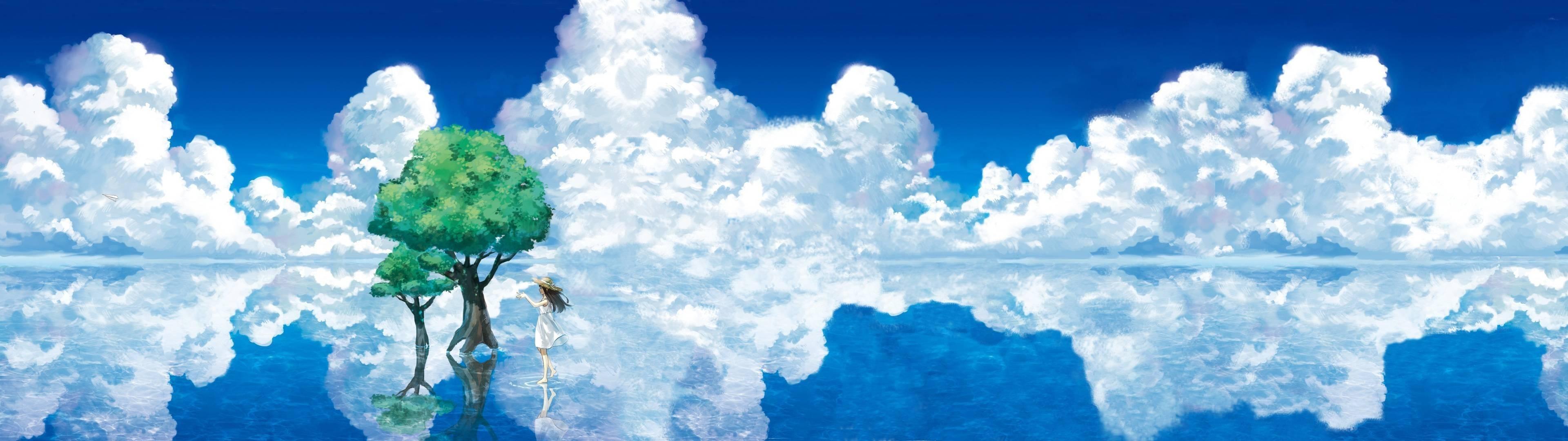 Anime Landscape Dual Screen Wallpaper Download Hd Images - 4k Dual Monitor Wallpaper Anime - HD Wallpaper