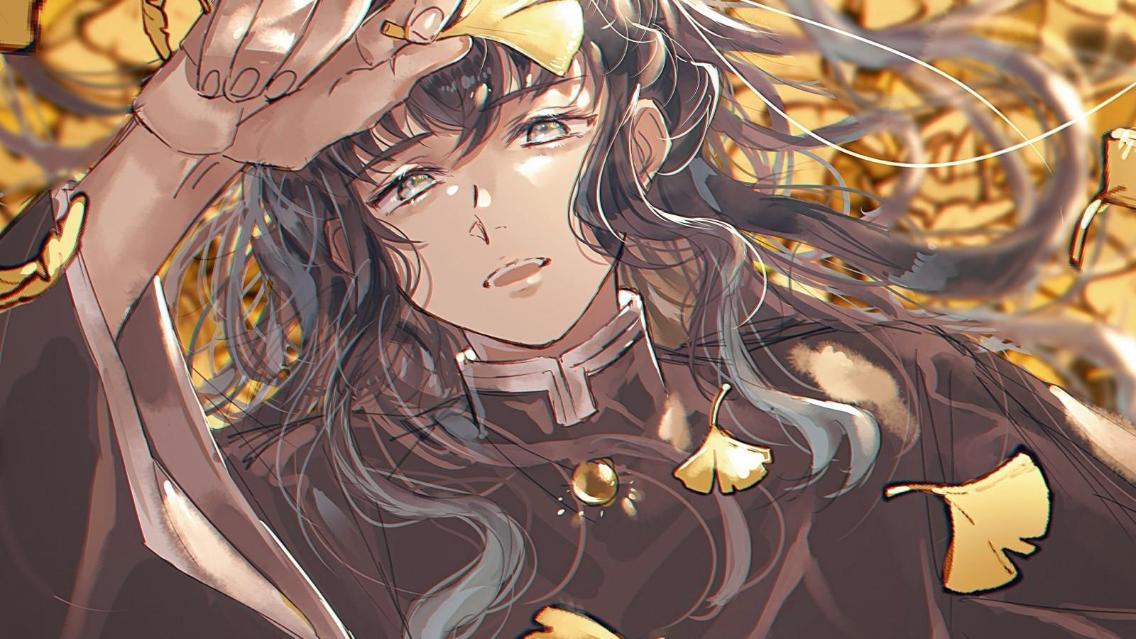 Tokitou Muichirou, Kimetsu No Yaiba, Lying Down, Leaves, - Kimetsu No Yaiba - HD Wallpaper