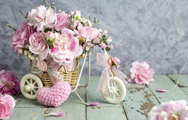 Photo Wallpaper Love, Flowers, Heart, Petals, Bucket, - Beautiful Wallpaper Love Flowers - HD Wallpaper