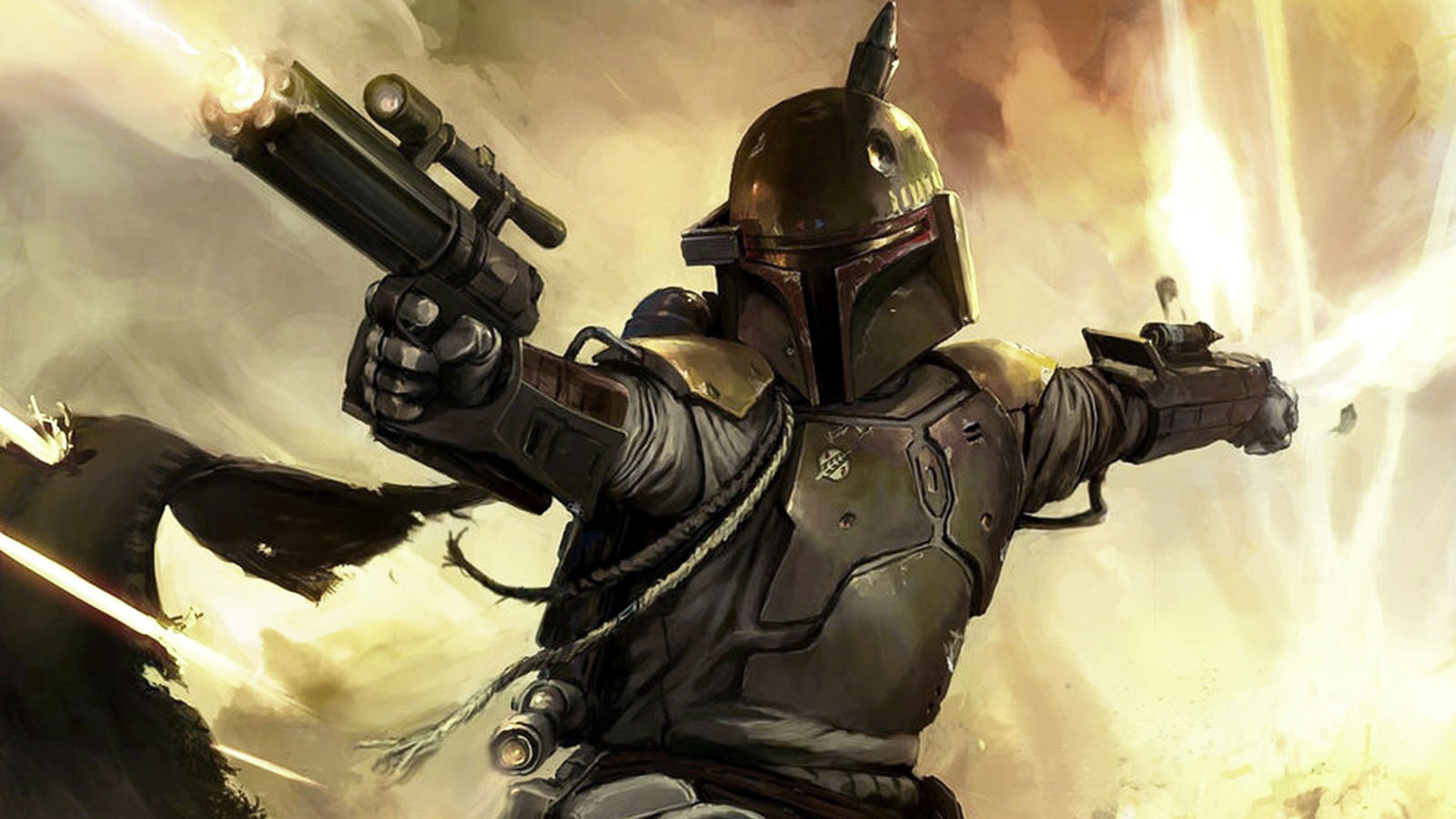 Boba Fett Black Star Wars Bounty Hunter Art 1600x900 Wallpaper Teahub Io