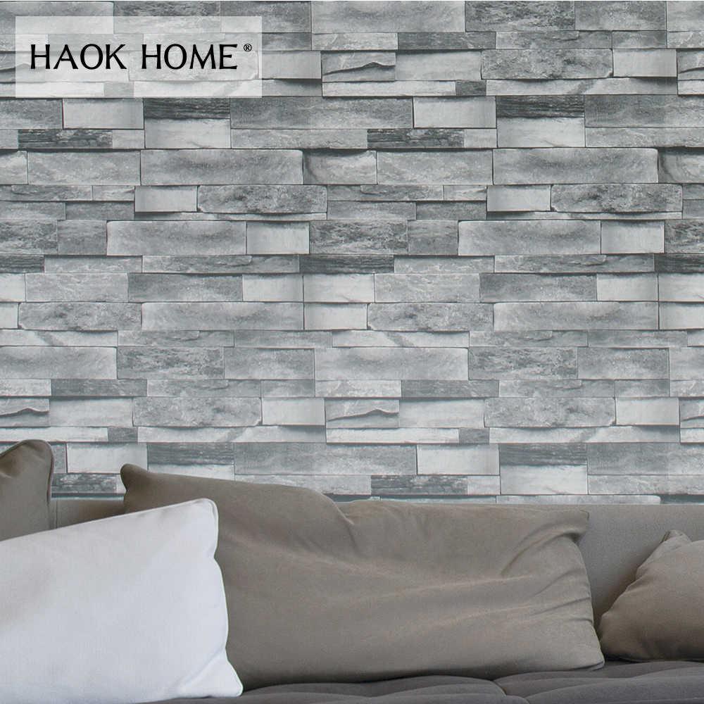 Haokhome 3d Faux Brick Wallpaper Pvc Rolls Black/grey/dk - Wall Paper Bricks Design - HD Wallpaper