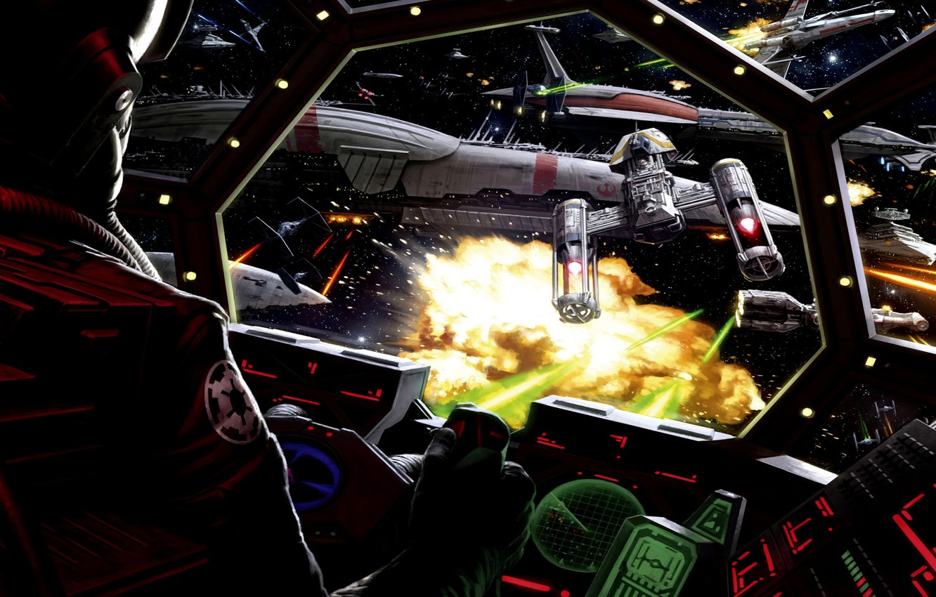 Photo Wallpaper Star Wars Art Cockpit Battle Tie Star Wars Tie Fighter Cockpit 1332x850 Wallpaper Teahub Io