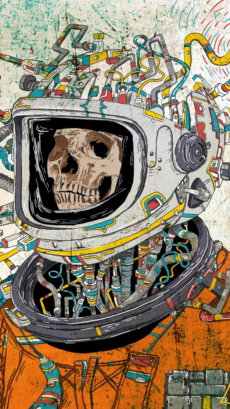 Wallpaper Skull Space Suit Art Astronaut Surreal Surreal Iphone Background 800x1420 Wallpaper Teahub Io