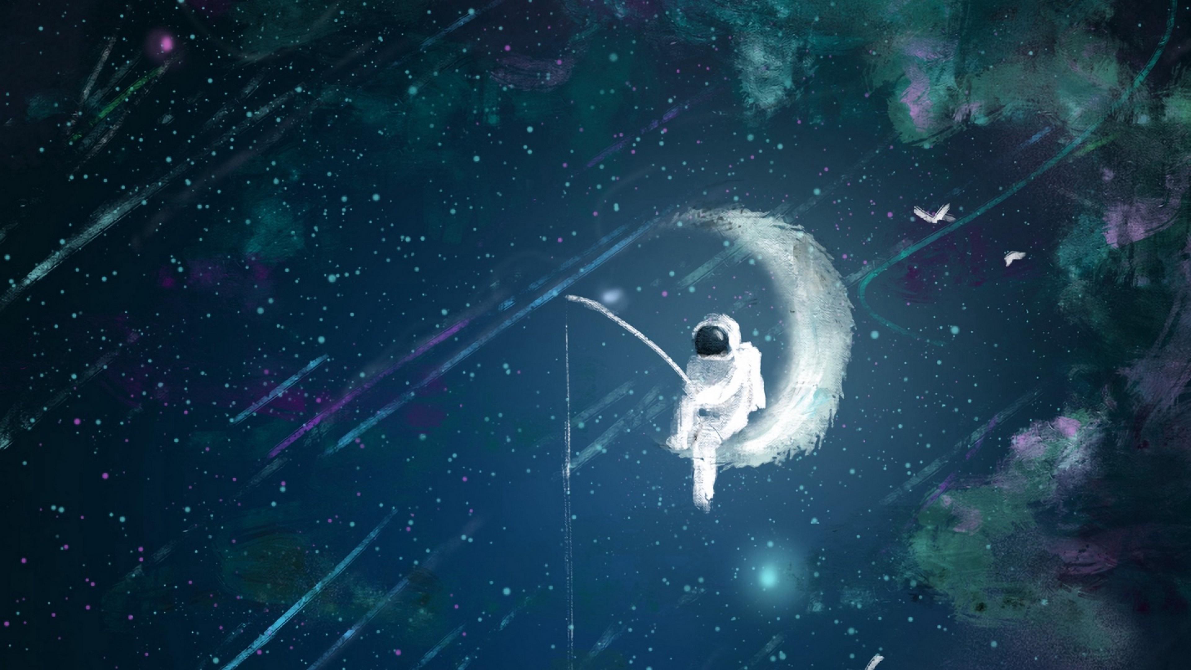 Wallpaper Astronaut Moon Fishing Art 2560x1440 Wallpaper Teahub Io