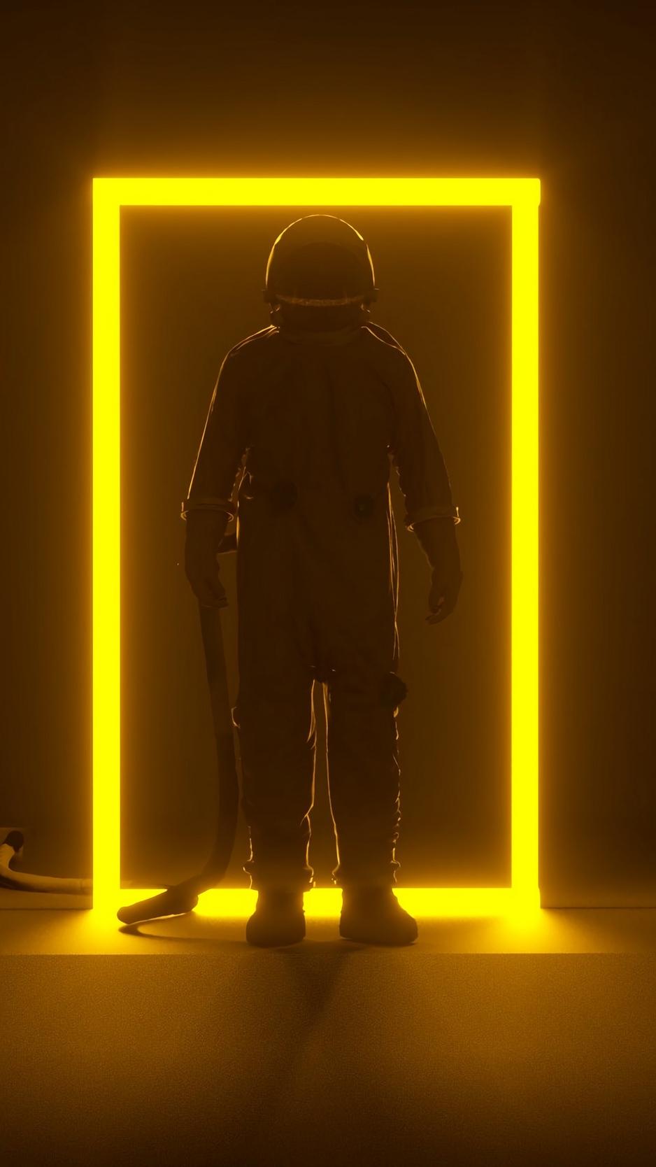 Wallpaper Astronaut, Portal, Neon, Frame, Glow, Dark - Frame Wallpaper Iphone 6 - HD Wallpaper