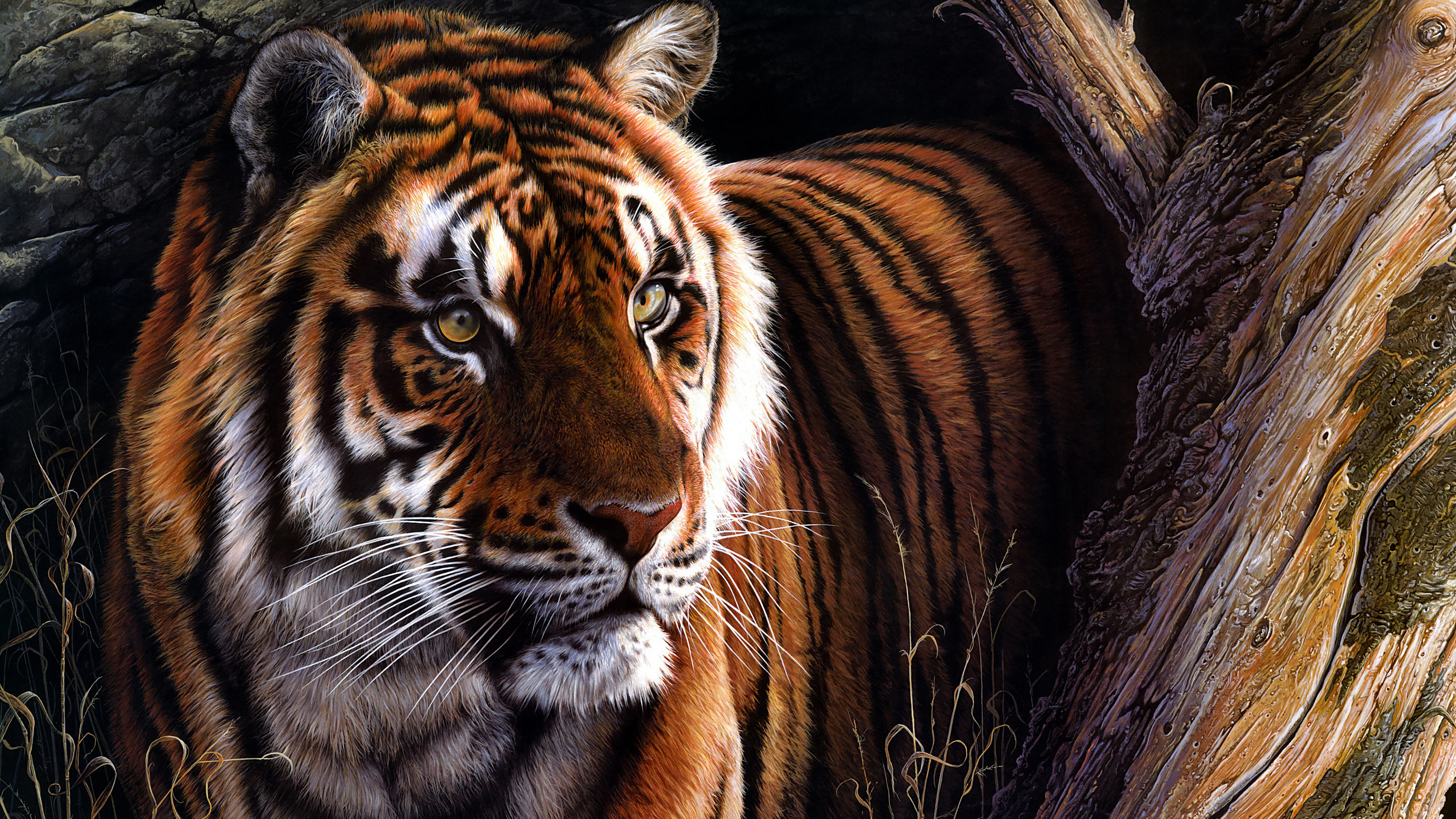Tiger Oil Paint 4k 4k Animal Wallpaper For Mobile 3840x2160 Wallpaper Teahub Io