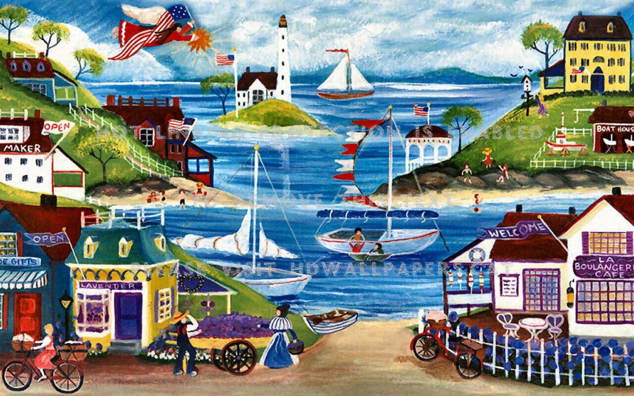 All American Seaside F1 Folk Art Seascape - Folk Art Painting Seasode - HD Wallpaper