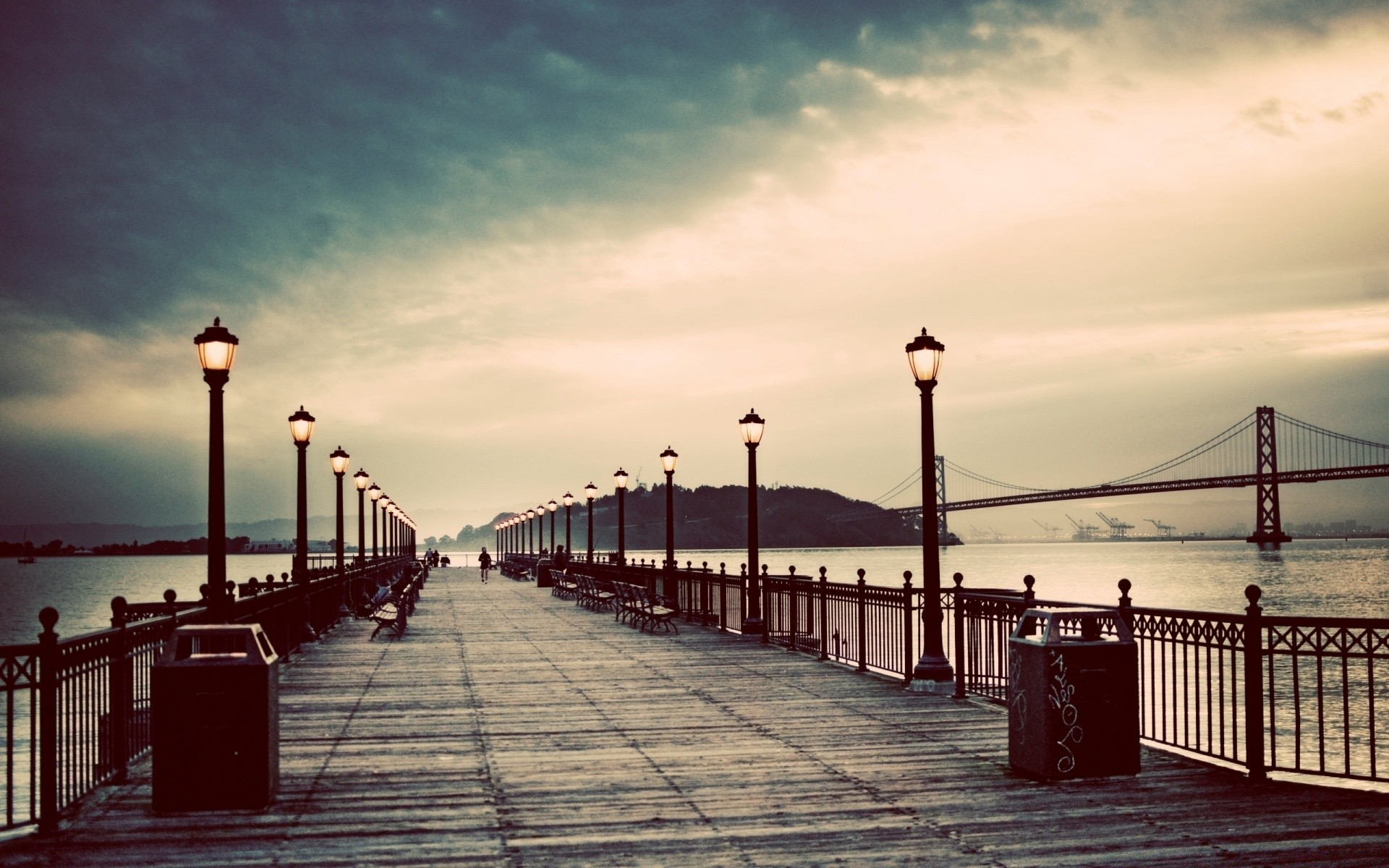 Vintage Sunset Bridge Water Dawn Pier Sea Travel Sky - Vintage Desktop Wallpapers Hd - HD Wallpaper