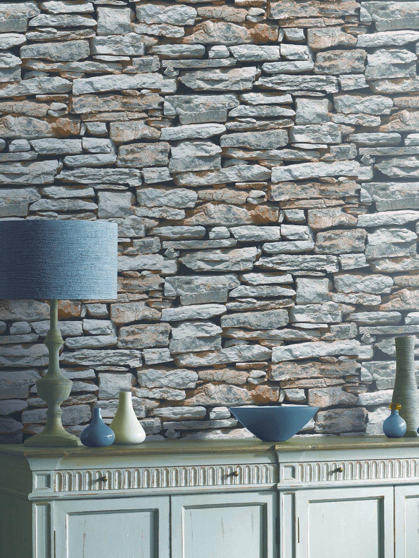 Grey Brick Feature Wall - HD Wallpaper