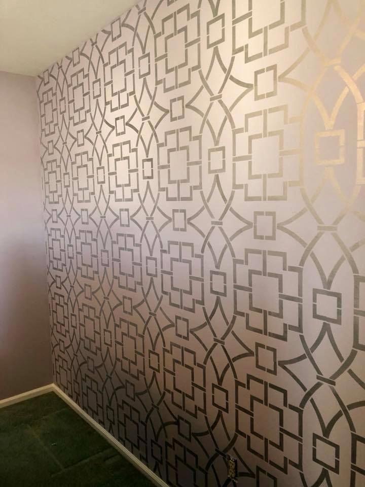 Living Room Asian Paints Wall Design Stencils - HD Wallpaper