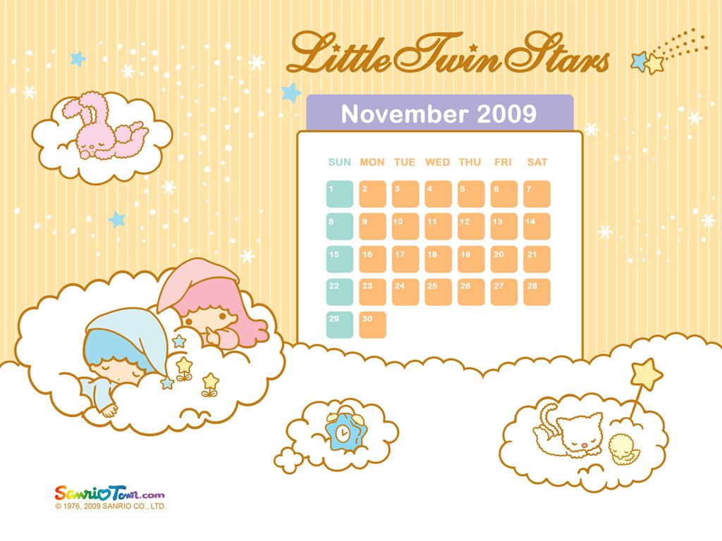 Little Twin Stars November Wallpaper - Little Twin Stars - HD Wallpaper