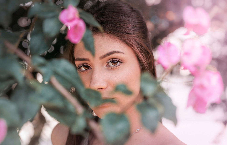 Photo Wallpaper Girl, Eyes, Beautiful, Model, Pretty, - Girl - HD Wallpaper