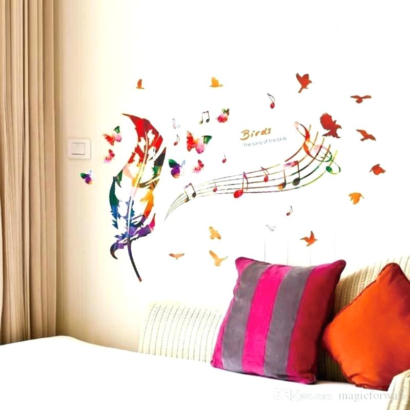 Poster Wallpaper For Bedrooms Bird Wall Mural Colorful - Wall Painting Design Music - HD Wallpaper