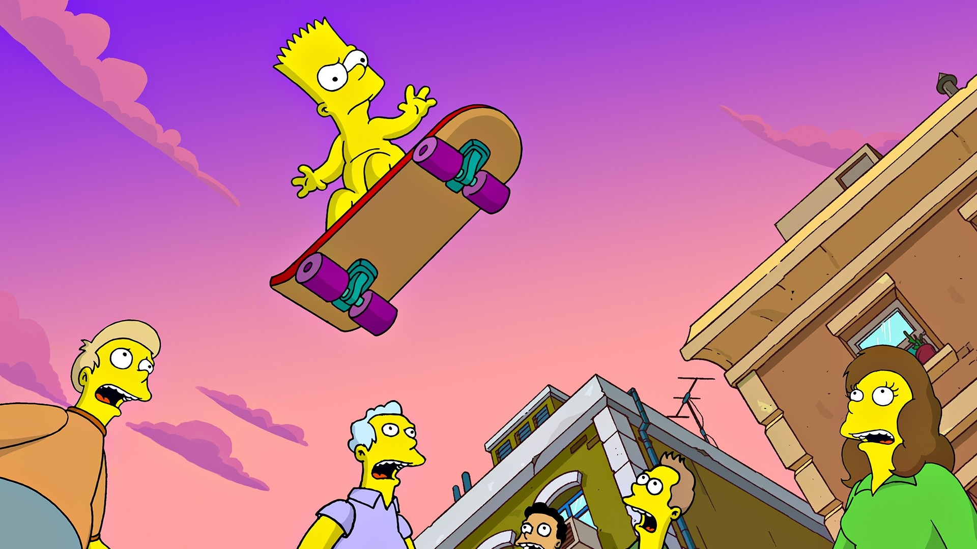 Bart Simpson Skating Wallpaper, A Wallpaper Of Bart - Bart Simpson On Skateboard - HD Wallpaper