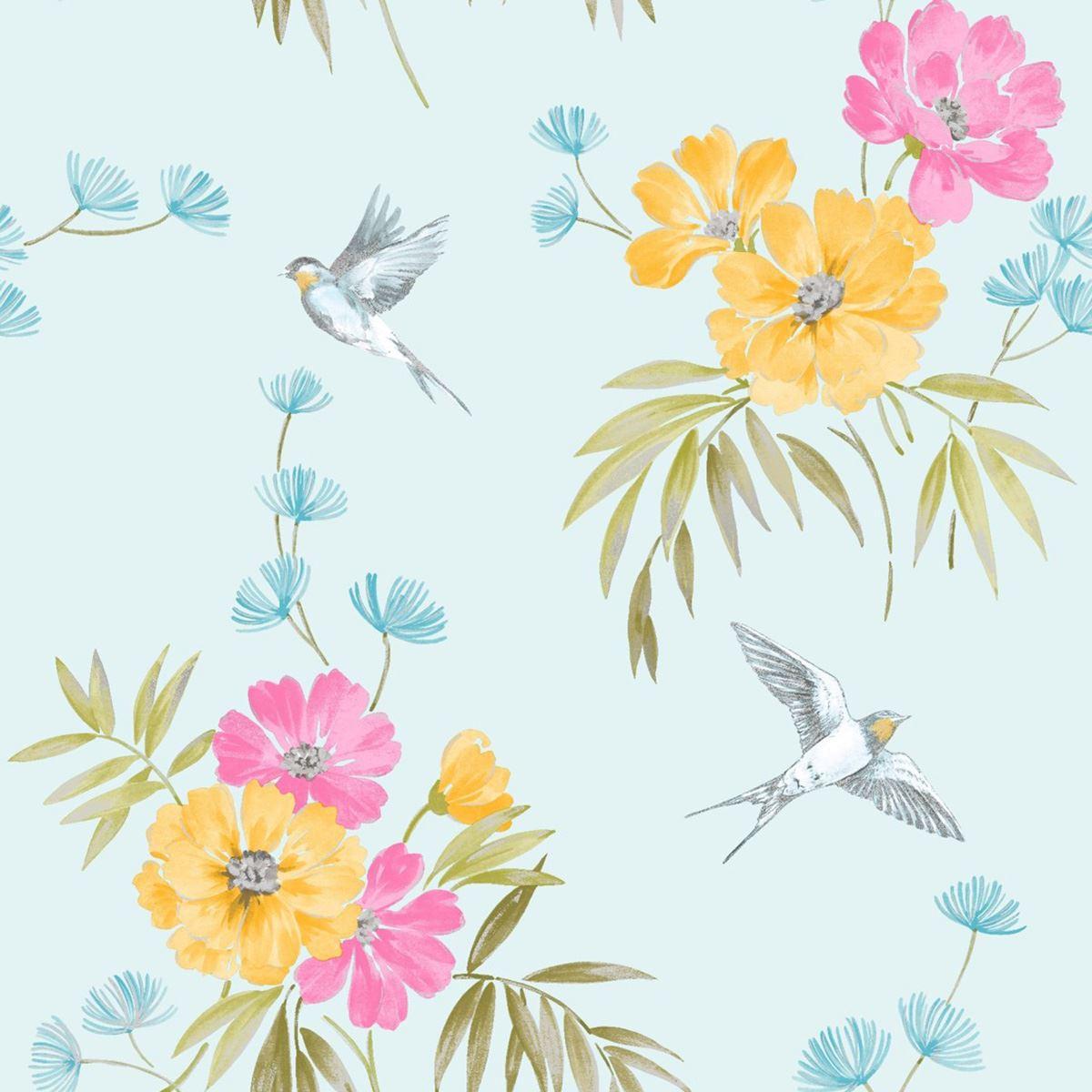 Teal Floral Wallpaper - Flower And Bird Designs - HD Wallpaper
